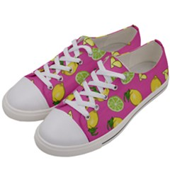 Lemons And Limes Pink Women s Low Top Canvas Sneakers by snowwhitegirl