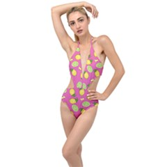 Lemons And Limes Pink Plunging Cut Out Swimsuit