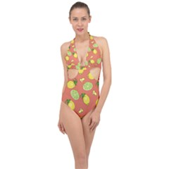 Lemons And Limes Peach Halter Front Plunge Swimsuit