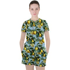 Fruit Branches Blue Women s Tee And Shorts Set