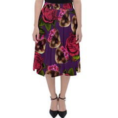 Lazy Cat Floral Pattern Purple Folding Skater Skirt