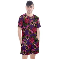 Lazy Cat Floral Pattern Purple Men s Mesh Tee And Shorts Set