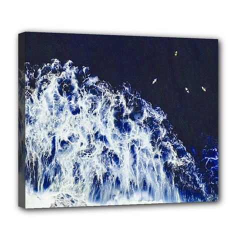 Blue Waves Sea Deluxe Canvas 24  X 20   by snowwhitegirl