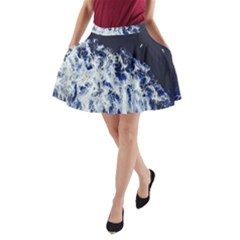 Blue Waves Sea A-line Pocket Skirt by snowwhitegirl