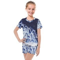 Blue Waves Sea Kids  Mesh Tee And Shorts Set by snowwhitegirl