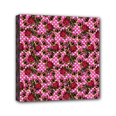 Lazy Cat Floral Pattern Pink Polka Mini Canvas 6  X 6