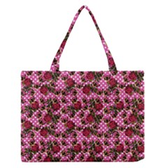 Lazy Cat Floral Pattern Pink Polka Zipper Medium Tote Bag by snowwhitegirl