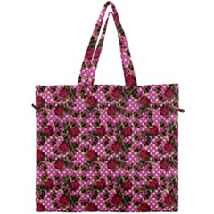 Lazy Cat Floral Pattern Pink Polka Canvas Travel Bag