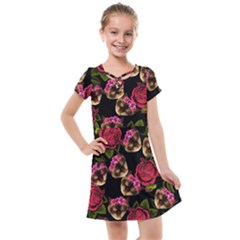 Lazy Cat Floral Pattern Black Kids  Cross Web Dress