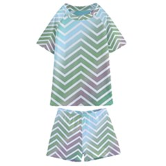 Ombre Zigzag 02 Kids  Swim Tee And Shorts Set