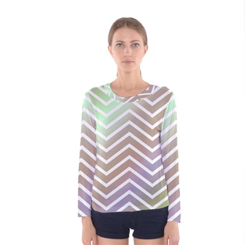 Ombre Zigzag 03 Women s Long Sleeve Tee by snowwhitegirl