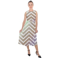 Ombre Zigzag 03 Midi Tie Back Chiffon Dress