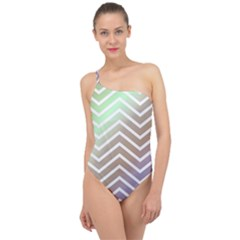 Ombre Zigzag 03 Classic One Shoulder Swimsuit