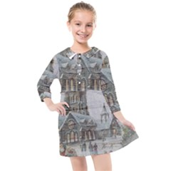 Santa Claus 1845749 1920 Kids  Quarter Sleeve Shirt Dress by vintage2030