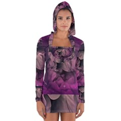 Wonderful Flower In Ultra Violet Colors Long Sleeve Hooded T Shirt by FantasyWorld7