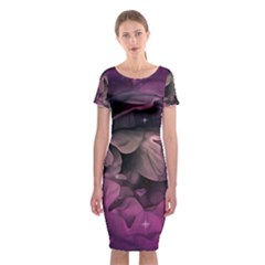 Wonderful Flower In Ultra Violet Colors Classic Short Sleeve Midi Dress by FantasyWorld7