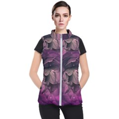 Wonderful Flower In Ultra Violet Colors Women s Puffer Vest by FantasyWorld7