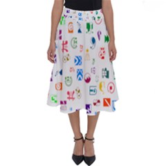 Colorful Abstract Symbols Perfect Length Midi Skirt by FunnyCow