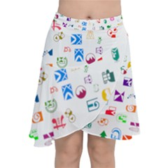 Colorful Abstract Symbols Chiffon Wrap