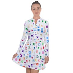 Colorful Abstract Symbols Long Sleeve Panel Dress
