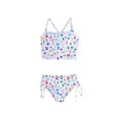 Colorful Abstract Symbols Girls  Tankini Swimsuit