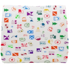 Colorful Abstract Symbols Seat Cushion by FunnyCow