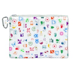 Colorful Abstract Symbols Canvas Cosmetic Bag (xl) by FunnyCow