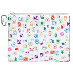 Colorful Abstract Symbols Canvas Cosmetic Bag (xxl) by FunnyCow