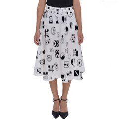 Black Abstract Symbols Perfect Length Midi Skirt by FunnyCow