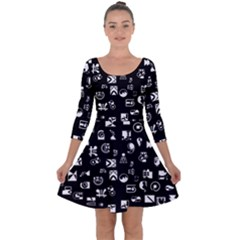 White On Black Abstract Symbols Quarter Sleeve Skater Dress by FunnyCow