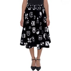 White On Black Abstract Symbols Perfect Length Midi Skirt by FunnyCow