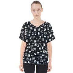 White On Black Abstract Symbols V Neck Dolman Drape Top