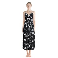 White On Black Abstract Symbols Button Up Chiffon Maxi Dress by FunnyCow