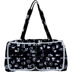 White On Black Abstract Symbols Multi Function Bag	 by FunnyCow