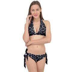White On Black Abstract Symbols Tie It Up Bikini Set