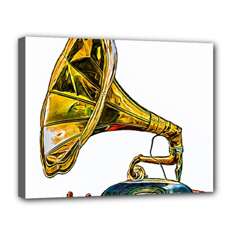 Vintage Gramophone Canvas 14  X 11  (stretched) by FunnyCow