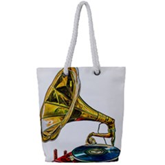 Vintage Gramophone Full Print Rope Handle Tote (small) by FunnyCow