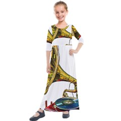 Vintage Gramophone Kids  Quarter Sleeve Maxi Dress
