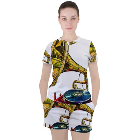 Vintage Gramophone Women s Tee And Shorts Set by FunnyCow