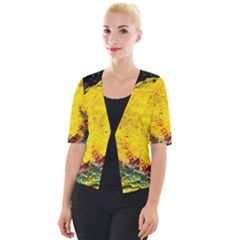Yellow Chik Cropped Button Cardigan