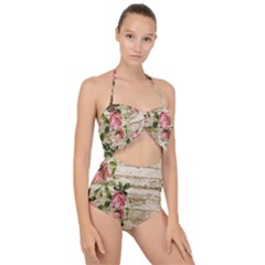 On Wood 2226067 1920 Scallop Top Cut Out Swimsuit