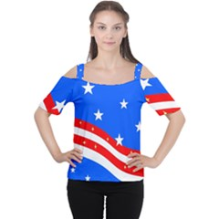Bright American Flag Cutout Shoulder Tee by lwdstudio