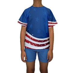 Dark American Flag Kids  Short Sleeve Swimwear by lwdstudio