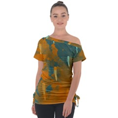 Dragonfly Off Shoulder Tie Up Tee