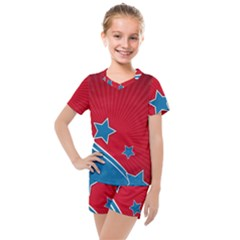 Abstract American Flag Background 23 2147507240 Kids  Mesh Tee And Shorts Set