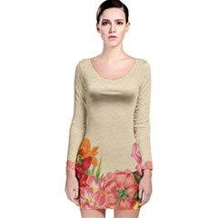 Flower 1646035 1920 Long Sleeve Velvet Bodycon Dress