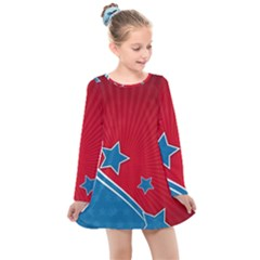 Abstract American Flag Kids  Long Sleeve Dress by lwdstudio