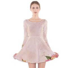 Flower 1646045 1920 Long Sleeve Velvet Skater Dress by vintage2030