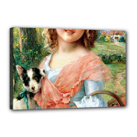 Girl With Dog Canvas 18  X 12  (stretched) by vintage2030