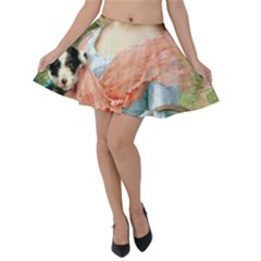Girl With Dog Velvet Skater Skirt by vintage2030